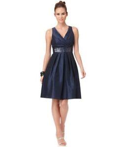 Detalles De Js Boutique Vestido Talla 4 Azul Intenso Lentejuelas Cintura Imperio Cóctel