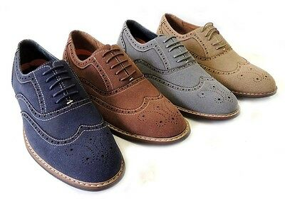 NEW FASHION MENS LACE UP WING TIP OXFORDS FAUX SUEDE LEATHER LINED DRESS SHOES