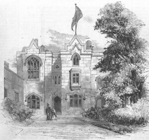 Antique Print 1860 MANCHESTER School for Deaf and Dumb Infants at Old Trafford
