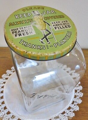 Antique PLANTERS PEANUTS Old General Store Counter Top Display Glass Canister