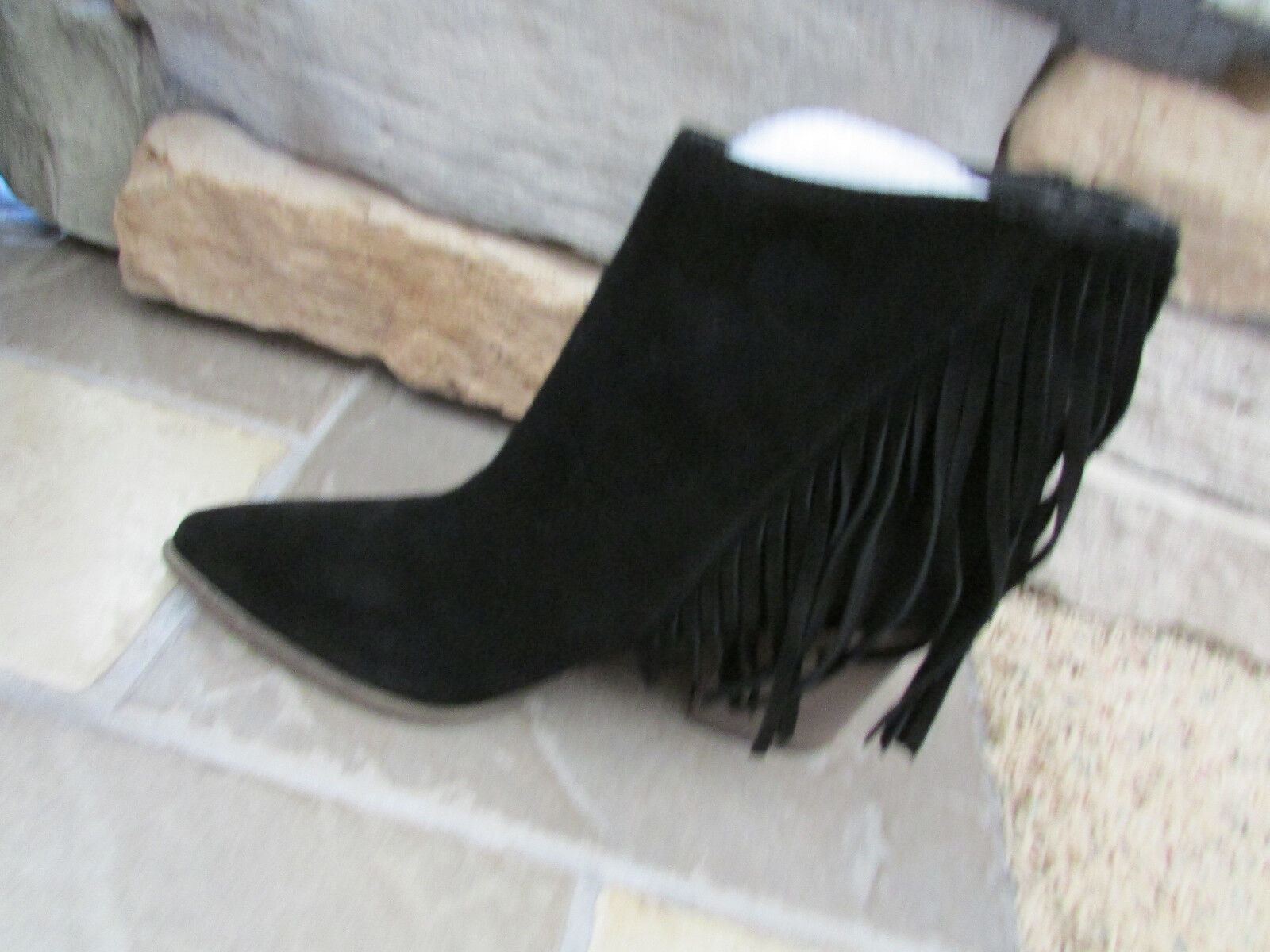 NEU STEVE MADDEN COUNTRYY SUEDE BOOTIES ANKLE BOOTS Damenschuhe 9 BLACK FRINGE SUEDE