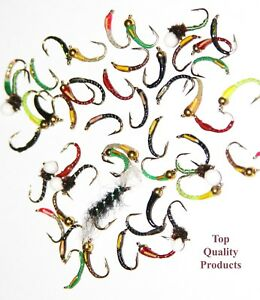 Trout-Fly-Assortment-Of-Buzzers-Nymphs-Wets-Dry-Flies-Qty-039-s-of-10-25-50-100