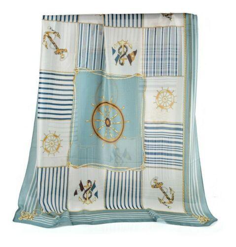 Stunning Pashmina Scarf Vintage Blue Wheel and Rope Soft Silk Look Shawl