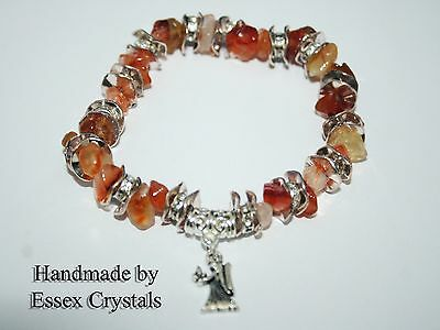 7.5 inches Leo Birthstone Sterling Silver Orange Carnelian Gemstone Bracelet