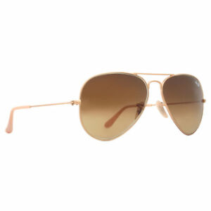 ff6dcf5290 Ray-Ban RB3025 112 85 55mm Matte Gold Brown Gradient Metal Aviator  Sunglasses