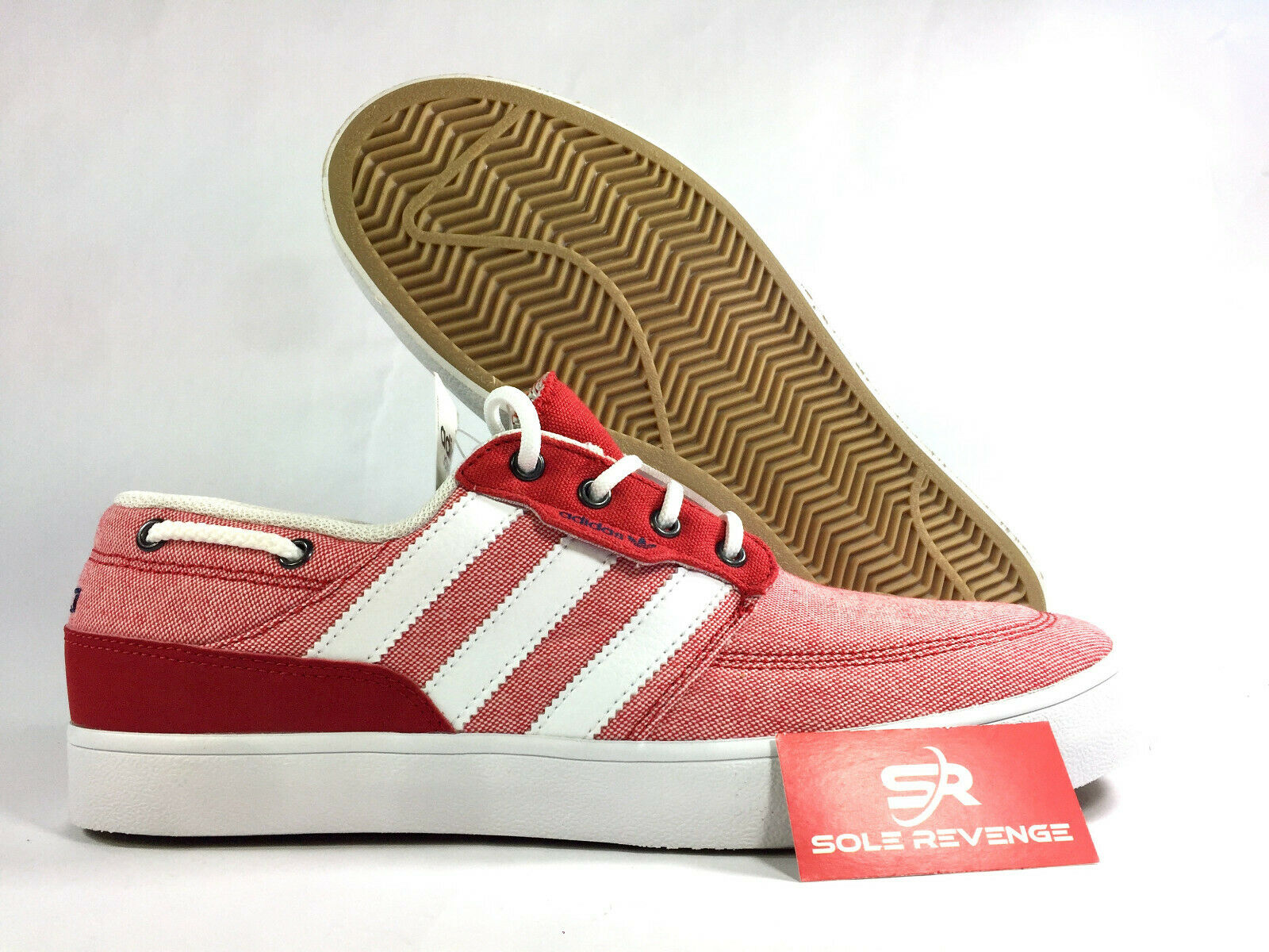 9.5 NEW  Adidas Originals JONBEE Boat Canvas shoes Red White Navy bluee x1