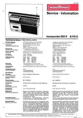 Tv, Video & Audio 8.115 A Perfekte Verarbeitung Service Manual-anleitung Für Nordmende Transcorder 585 K