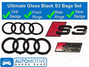 Audi-S3-Gloss-Black-badge-Anneaux-Grille-Badge-Coffre-Embleme-Ultimate-Kit