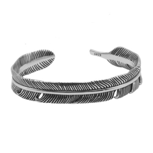 Argent Sterling 925 Hommes Femmes Unisexe Feather Band Bangle Cuff Bracelet A2884