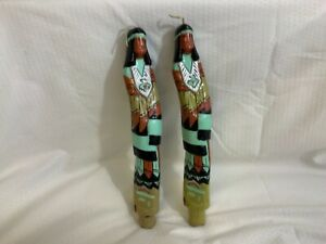 2-vintage-Candles-9-Inches-Wax-Figures-Native-American-Folk-Art
