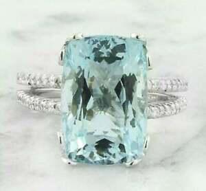 Fabulous Cushion Aquamarine & CZ Women's Fantastic Wedding Ring In 925 Silver