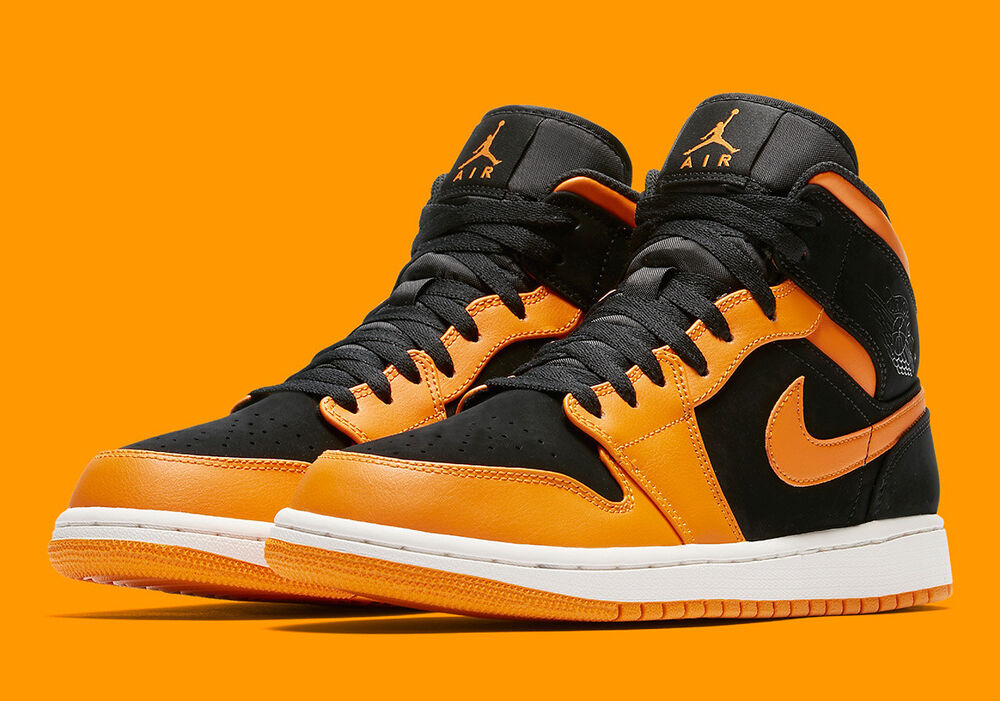 Nike Air Jordan 1 Mid 554724-081 Taille 12.5 USA Mid noir/Orange Peel NEW Retro