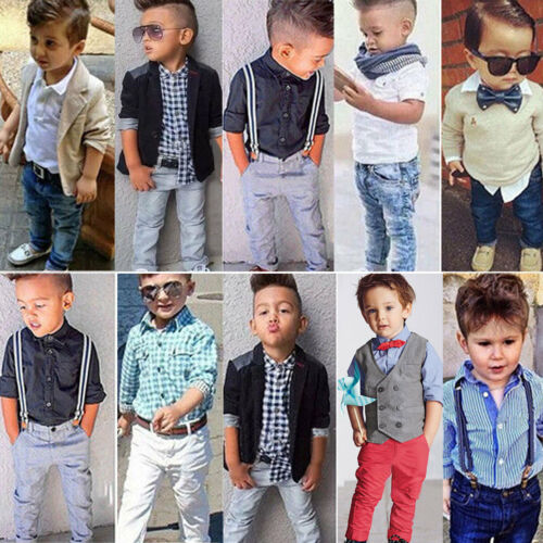 Pants Coat Sets Fashion Party Kid Baby Boy Gentleman Outfit Suit Dress Shirt