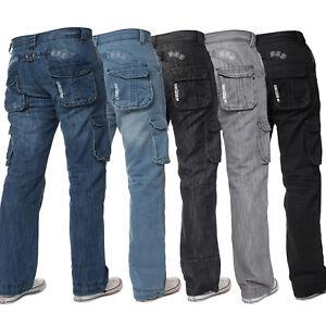 Enzo-Mens-Cargo-Combat-Jeans-Casual-Denim-Trousers-Pants-All-Waist-Leg-Sizes