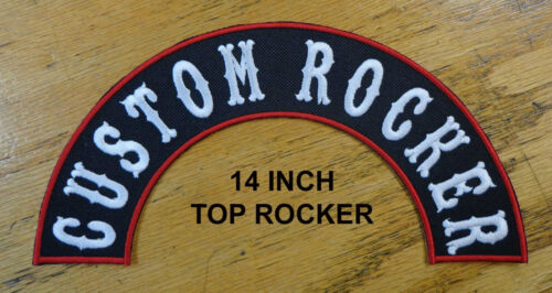"""ROCKERS CUSTOM EMBROIDERED PATCH CLUB 14/"""" TOP AND BOTTOM HALF ARCH MADE IN USA"""
