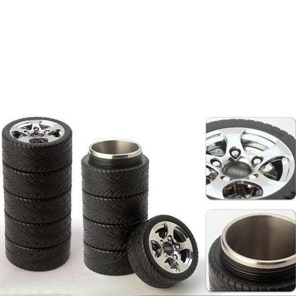 Car Wheel Tire Cup Mup Coffee Tea Travel Tire Mug Stainless Steel Thermos 1458U