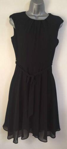 Ex DP Size 8-16 Black Chiffon Fit /& Flare Midi Shift Tie Up Work Formal Dress