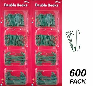 600 Pack Wire Christmas Ornament Hooks - Metal - Green