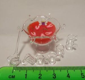 1:12 Scale Glass Bowl With A Strawberry Punch Tumdee Dolls House Drink G9Ms