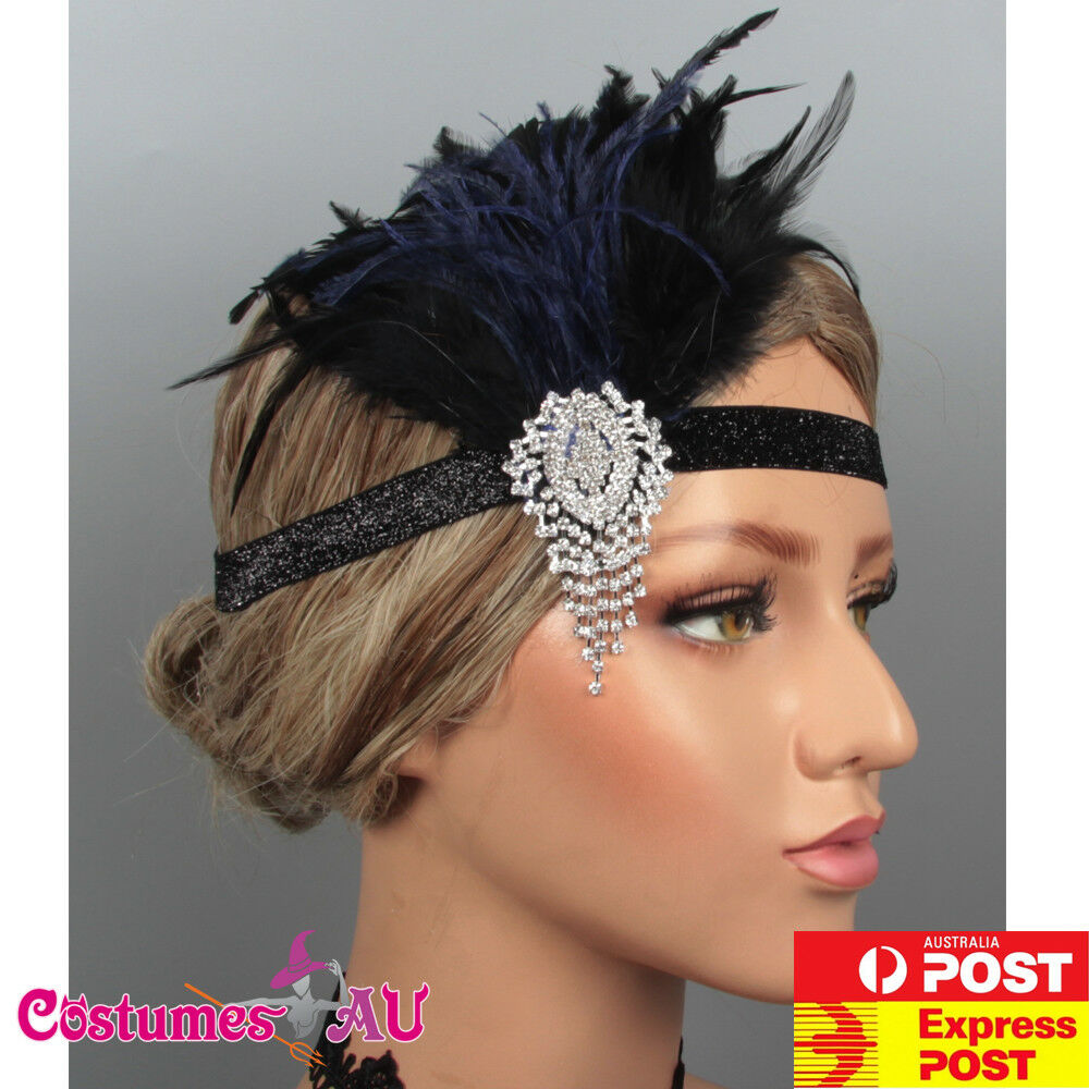 1920s Headband Black Blue Feather Bridal Gatsby 20s Gangster Flapper Headpiece