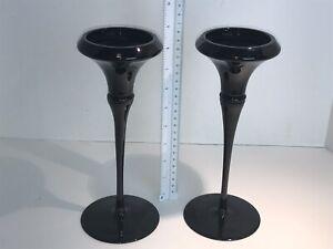 ANTIQUE-BLACK-AMETHYST-ART-DECO-CANDLESTICKS-PAIR-VINTAGE-TRUMPET-SHAPE