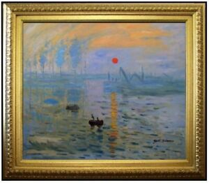 Framed-Hand-Painted-Oil-Painting-Repro-Monet-Impression-Sunrise-20x24in