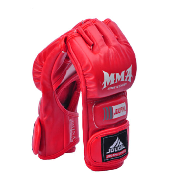 MMA Sanda Boxing Punching Bag Muay Thai Training Half Finger Mitts Gloves RED