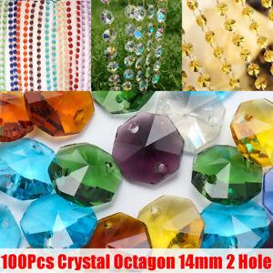 100Pcs Crystal Glass Octagon Beads Mi Color Chandelier Lamp Parts DIY Xmas Decor