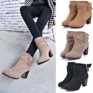 EG_ Fashion Buckle Winter Thick Platform High Heel Women Zipper Ankle Boots Sanw