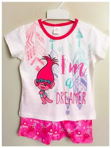 NEW-Size-3-8-KIDS-GIRLS-PYJAMAS-SUMMER-TROLLS-SLEEPWEAR-NIGHTIE-PJS-TOP-TEES-PJ