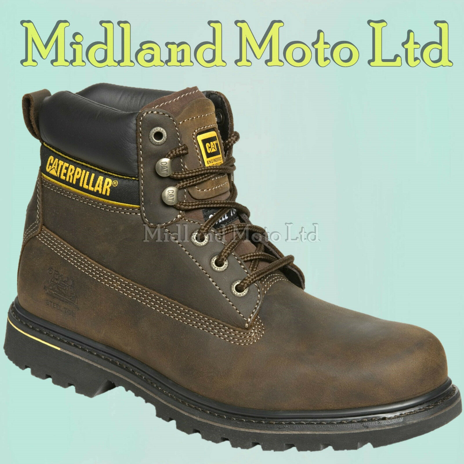 Caterpillar Holton SB Steel Toe Cap Safety Brown Leather Boots, CAT, Shoes