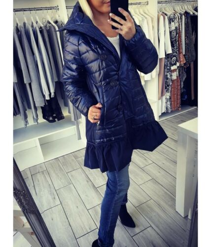 Womens Ladies Long Winter Coat Jacket  Hooded with frill Size s,m