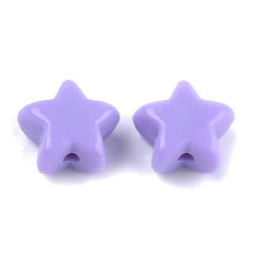 100pcs Opaque Acrylic Star Beads Smooth Mini Spacer Beads Crafting 10.5x11.5mm