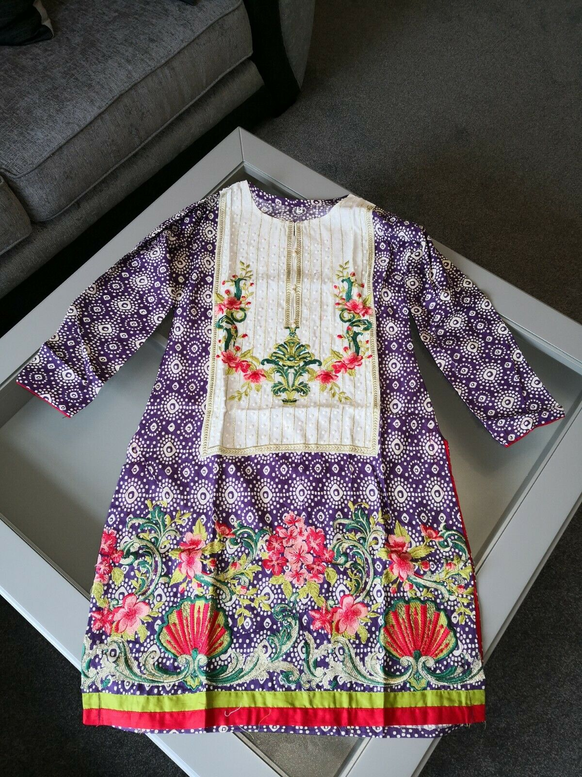 Embroidered kurta, quality fabric. Off White and purple with pearly beads.