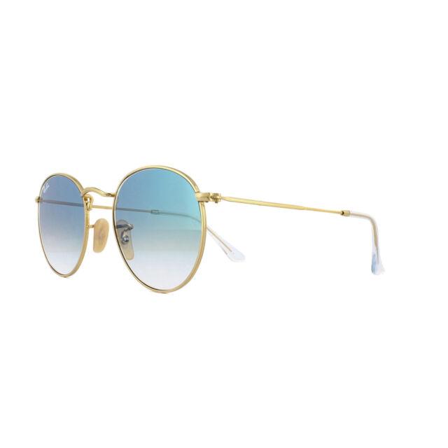 98a2b0a8ca332 Ray-Ban Sunglasses Round Flat Lenses 3447N 001 3F Gold Blue Gradient 50mm