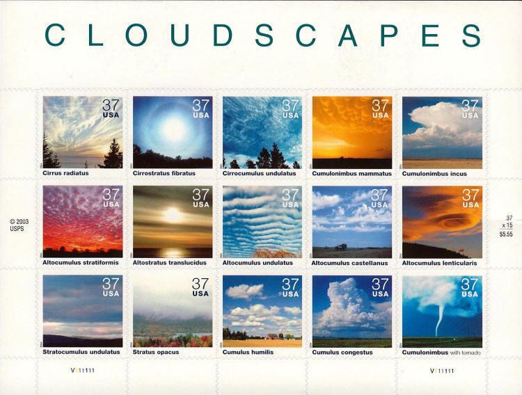 2004 37c Cloudscapes, Sheet of 15 Scott 3878 Mint F/VF
