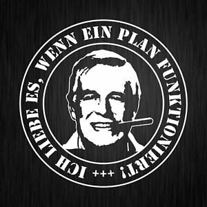 Hannibal-Smith-A-Team-Plan-Sprueche-Spass-Weiss-Auto-Vinyl-Decal-Sticker-Aufkleber