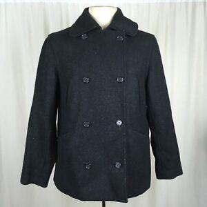 J-Crew-Mens-Medium-Wool-Jacket-Pea-Coat-Double-Breasted-Black