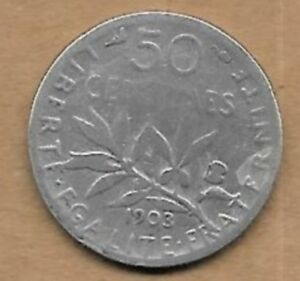 Charmant 50 Centimes Argent La Semeuse 1903 Rare