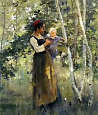Oil painting theodore robinson - mother and child by the hearth landscape canvas