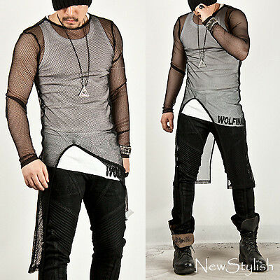 NewStylish Mens Tops Avant-garde Asymmetric Unbalance Mesh Long Slim Tee Shirts