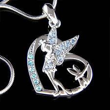 w Swarovski Crystal ~Blue Tinkerbell ANGEL dragonfly Heart Wing Necklace Jewelry