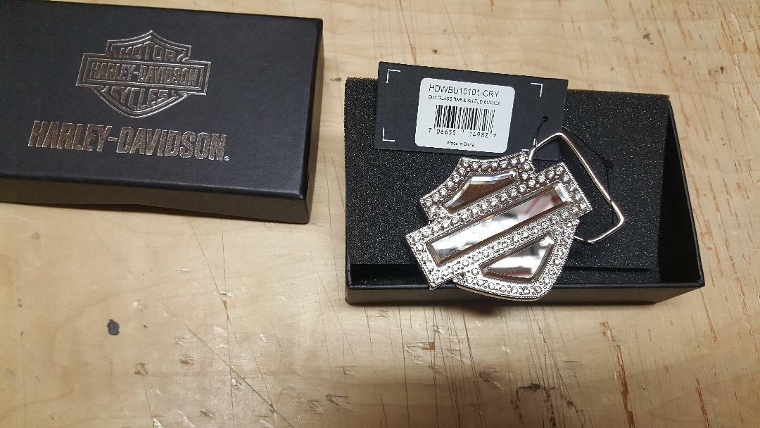 Harley-Davidson Womens Bar & Shield White Crystals Buckle HDWBU10101-CRY