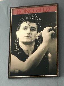 Vintage-1980-039-s-Original-U2-BONO-Framed-Picture-Mirror-Collectable-memorabillia