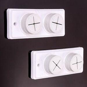 TWIN PACK 2x Croydex 2 Twin Hole White Plastic Tea Dish Cloth Towel Holders