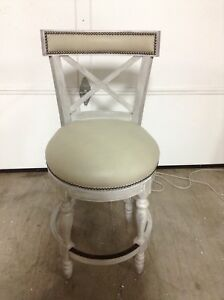 Prime Details About Frontgate Griffith X Back Swivel Counter Bar Stool 26 Seat Height Grey Leather Theyellowbook Wood Chair Design Ideas Theyellowbookinfo