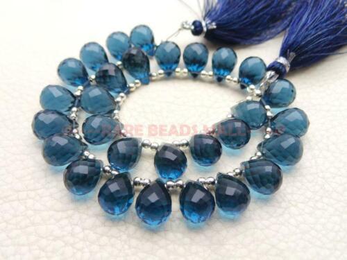 London Blue Quartz Faceted Teardrop Briolettes Loose Gemstone Jewelry Making