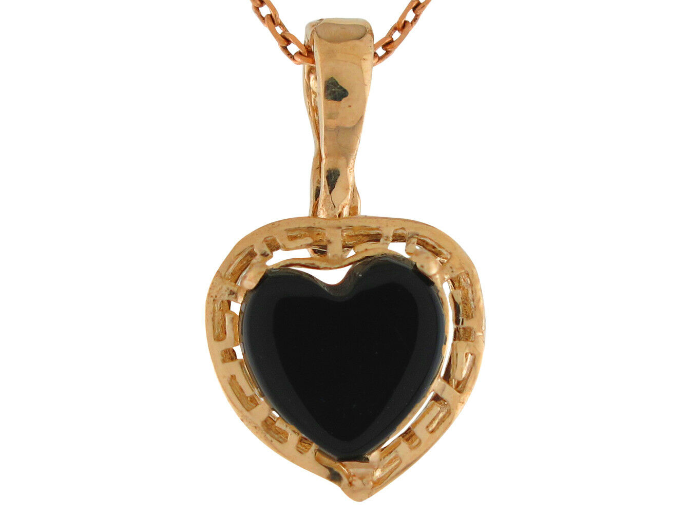 10k or 14k Yellow gold Heart Cut Onyx Ladies Greek Key Design Pendant