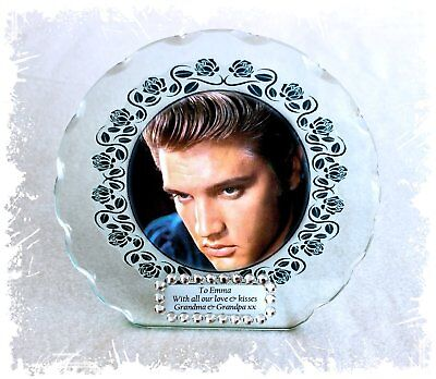 Diamante Ltd Edition  #1 Elvis Nostalgia Photo Cut Glass Round Plaque Frame