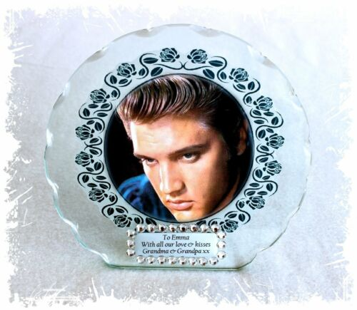 Elvis Nostalgia Photo Cut Glass Round Plaque Frame Diamante Ltd Edition  #1